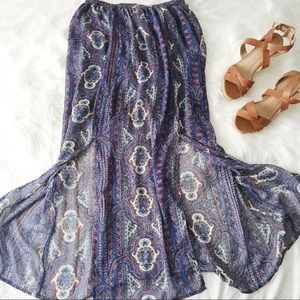 NWOT Paisley Print  Parted Front Maxi Skirt
